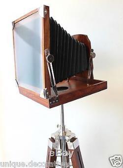 Vintage Retro Nautical Camera Reproduction Home Replica Wooden Tripod Office