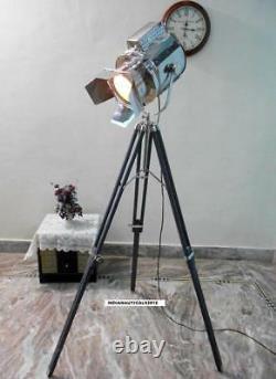 Vintage Searchlight Floor Lamp Grey Wooden Tripod Stand Floor Spot Light