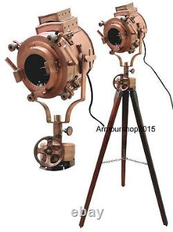Vintage Searchlight Nautical Spot Light Floor Searchlight Wooden Brown Tripod
