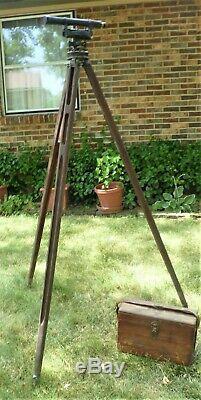 Vintage Seiler Inst. Co. Transit Surveyor Level with Box and Wooden Tripod #7955