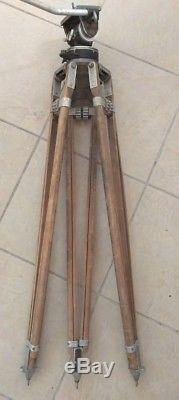 Vintage Senior Adjustable Wood Tripod With Miller Fluid Action Head Australia VGC