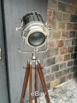 Vintage Silver Floor lamp searchlight Wooden Tripod home Decor Dim Spotlight