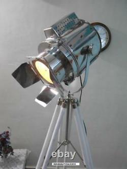Vintage Spotlight Floor lamp W / White Wooden Tripod Stand Floor Search Light