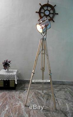 Vintage Spotlight Floor lamp Wooden Tripod Chrome Finish Spot Light Home Decor