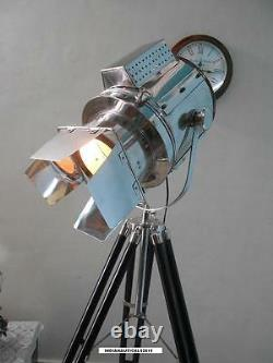 Vintage Spotlight Floor lamp with Black Wooden Tripod Stand Floor Search Light
