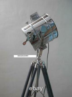 Vintage Spotlight Floor lamp with Grey Wooden Tripod Stand Floor Spot Light