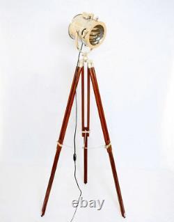 Vintage Spotlight Floor lamp with Wooden Tripod Chrome Finish Spot Light Decor
