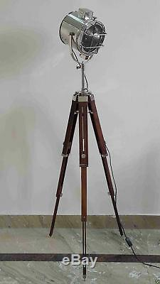 Vintage Spotlight With Wooden Tripod Stand Electric Floor Lamp Decor