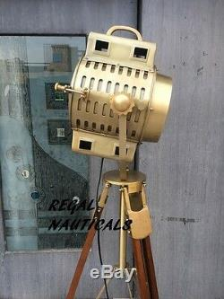 Vintage Spotlight Wooden Brown Screw Tripod Floor Lamp Searchlight Home Decor
