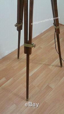 Vintage Spotlight with Brown Wooden Tripod Stand Floor Spot Light