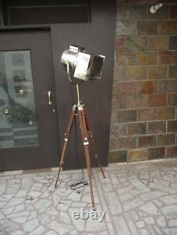 Vintage Stage Searchlight Wooden Tripod Stand Search Light Studio Spot Lamp