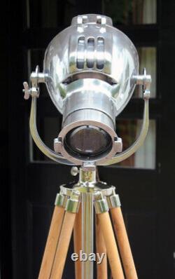 Vintage Strand Patt 23 Theatre Light Lamp Stage Lantern On New Teak Tripod Stand