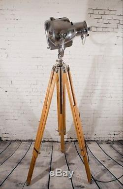 Vintage Strand Polished Stage Light Patt 23 Theatre Lamp With Wooden Tripod