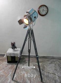 Vintage Sty Searchlight Floor lamp W /Grey Wooden Tripod Stand Floor Spot Light