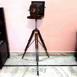Vintage Style Antique Folding Camera With Wooden Tripod Collectible