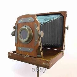 Vintage Style Antique Folding Camera With Wooden Tripod Collectible Item
