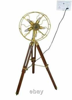 Vintage Style Fan Light Brass Floor Lamp With Wooden Adjustable Tripod Stand Mod