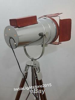 Vintage Style Retro Floor Lamp Tripod Stand Nautical Leather Spot Search Light