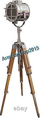 Vintage Style Three Foldable Tripod Searchlight Floor Standing Lamp Spotlight