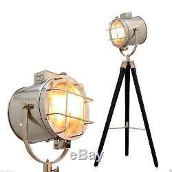 Vintage Style Wooden Tripod Spot Searchlight Floor Lamp Antique Style Marine