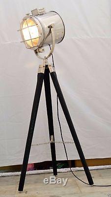 Vintage Style Wooden Tripod Spot Searchlight Floor Lamp Antique ...