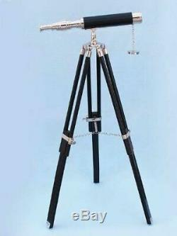 Vintage TELESCOPE Hand-Made Designer Nautical Brass With Wooden Tripod Stand