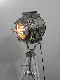 Vintage THEATER Search light Spot Lights Floor Lamp wooden tripod Retro Gift