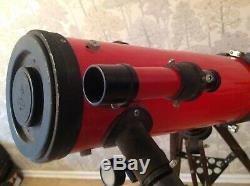 Vintage Tasco Astronomical Telescope Metal Body Wooden Tripod Lenses