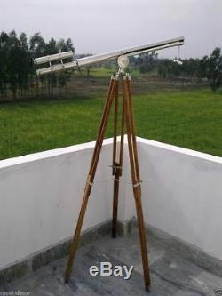 Vintage Telescope maritime Brass Nautical Nickel Finish On Wooden Tripod Stand