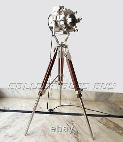 Vintage Theater Silver LED Tripod Floor Standing Lamp Searchlight Studio Lamps