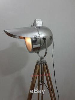 Vintage Traffic Searchlight Floor Lamp With Teak Wooden Tripod Stand Signal Light