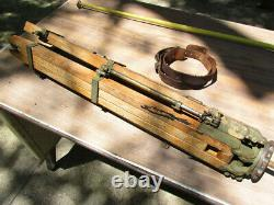 Vintage Transit Tripod Military Old Heavy Duty braces Leather Straps Wooden Legs