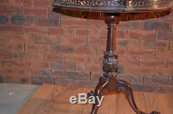 Vintage Tri-Pod Mahogany Pie Crust Table with Raised Wood Gallery