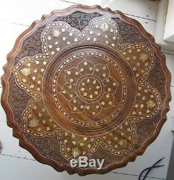 Vintage Tri-pod Anglo/indian Wooden Side Table Brass & Silver Stringing Inlay