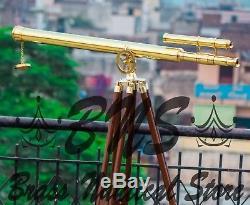 Vintage Tripod Brass Telescope Marine Nautical Pirate Spyglass Scope Double Gift