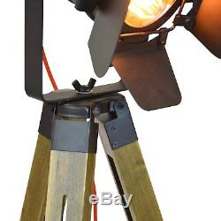 Vintage Tripod Floor Lamp, Stylish Industrial Design Torchiere, with wooden LED