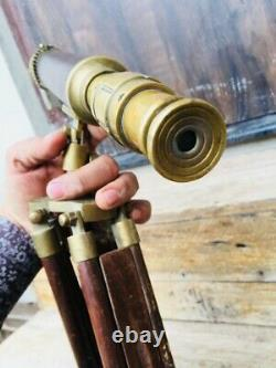 Vintage Tripod Floor Standing Nautical Brass Wooden Made Telescope Rare