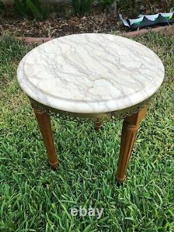 Vintage Tripod French Provincial Small Marble Top Table