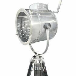 Vintage Tripod Spotlight Floor Lamp Chrome Finish Aviation Nautical 22