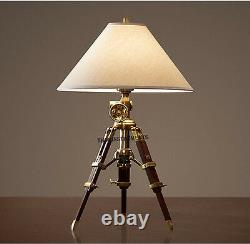 Vintage Tripod Table Lamp Brown Tripod Stand Shade Lamp Hand Made Home Decor