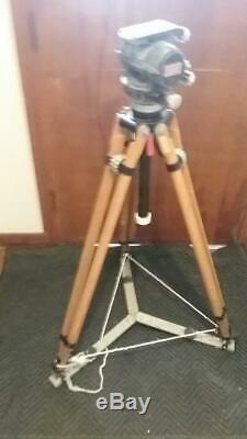 Vintage Vinten Wooden Tripod With O'connor 50 Fluid Head And Case