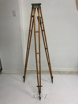 Vintage WOOD TRIPOD rustic decor transit light stand survey industrial wooden UK