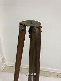 Vintage WOOD TRIPOD rustic decor transit light stand survey industrial wooden US