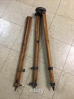 Vintage W. & L. E Gurley Wood Camera/Surveyor Tripod Adjustable Height