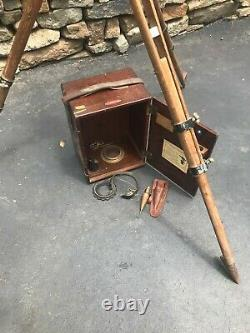 Vintage Warren-Knight Co Sterling Transit Compass with Wooden Case & Tripod