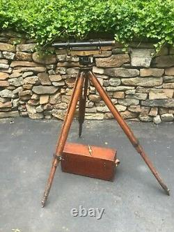 Vintage Warren-Knight Co Sterling Transit with Wooden Case &Tripod also a Plum-bob