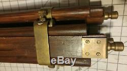Vintage Wood And Brass Tripod Adjustable (camera, globe, telescope, lamp)