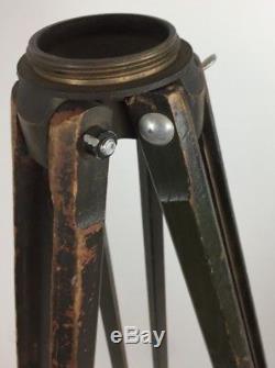 Vintage Wood/Brass OD Green Military Surveyor Tripod WWII
