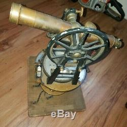 Vintage Wood Brass Surveyors Transit Tripod Scope Transit Survey pjb