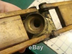 Vintage Wood & Brass TRIPOD-unmarked lays flat closed, GREAT DESIGN
